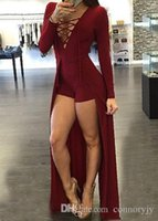 Wholesale 2016 new Fashion Women Jumpsuit Lace Up Design Hollow Out V Neck Maxi Overlay Romper