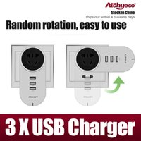 Wholesale Pisen rotation USB Charger USB interface socket multi universal charge drag strip A charger for iphone plus samsung note