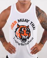 Wholesale M6 Men Boxing Jerseys MMA Sleeveless Fight Wear Tiger Muay Thai T shirt MMA Jersey Custom Wrestling Singlets Black