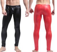 Wholesale 2016 Black Red Men Stretch Faux Leather Pencil Leggings Low Waist Skinny Tight Bodywear Exotic Guy Male Training Sport Clubwear Pants