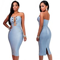 Wholesale High fashionable women summer style clothing super sexy hollow out design strapless bodycon dresses casual ladies column knee length dresses