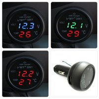 Wholesale in Digital LED car Voltmeter Thermometer Auto Car USB Charger V V Temperature Meter Voltmeter Cigarette Lighter