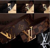 Wholesale 2016 fashion new hip brand l buckle l designer belts for men women genuine leather gold cinto belt v Men s