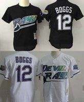 bay throwback jersey - MLB Tampa Bay Rays jerseys Cheap baseball Jerseys classic Throwback BOGGS black white freeshipping drop shipping