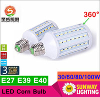 led light bulb 100w - 2016 Super Bright W W W W W Led Bulbs E27 E40 SMD Led Corn Lights Angle Led Pendant Lighting AC110 V