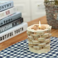 Wholesale CANDLE TEALIGHT HOLDER CENTERPIECE CANDLESTICK FOR HOME COFFEE SHOP DECO DECORATION WOODEN PINE NATURAL HANDMADE HANDCRAFT