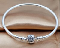 Wholesale Silver Circle of Star clear Cz bangle DIY Original Sterling Silver Bracelets Fit for beads charms Jewelry PC