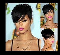 Wholesale Cool drop shipping new Rihanna hair wigs black short straight synthetic wig