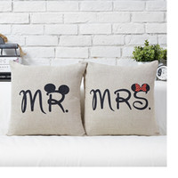 Wholesale MR MRS Mickey Mouse Cushion Cover Cotton Linen Pillow Case Sofa Waist Throw Couch Car Bed Home Decor WA0866
