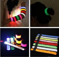 Wholesale christmas Nylon LED Sports Slap Wrist Strap Bands Wristband Light Flash Bracelet Glowing Armband Flare Strap For Party Concert Armband