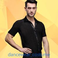 ballroom dance tops - New Men s Short Sleeve Ballroom Latin Tango Samba Rhythm Salsa Competition Practice Dance Shirt Top SZ Black