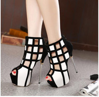 Wholesale Chic black white super high heels hollow out open toe boots for women thin heels CM party shoes size to