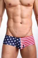 Cotton Mini Boxers Briefs - New Sexy Men MINI Boxer Shorts USA Flag Printed Mens Trunks New Low Waist Designed Mens Boxers Cotton Gay Penis Pouch FX1011