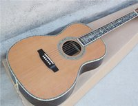 wood flower - 41 Inch Folk Acoustic Guitar with Abalone Flower Fret Marks Inlay and Binding Red Pine Wood