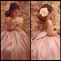 beautiful child models - Long Sleeves Lace Arabic Floral Flower Girl Dresses Sheer Neck Satin Child Dresses Vintage Beautiful Light Girl Wedding Dresses