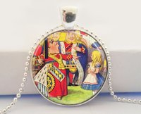 american fairy tales - Alice In Wonderland Necklace Queen of Hearts Off With Her Head Fairy Tale Art Glass Dome Pendant Necklace