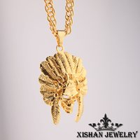 Wholesale American Indian Chief Head K Gold Plated Pendant quot In Cuban Curb Chain Necklace Hip Hop Jewelry