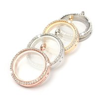 Wholesale New Fashion Round Silver Gold Plated Crystal Pendant Magnetic Memory Glass Living Charm Locket Floating Necklac Chain Pendant