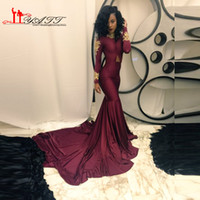 africa t shirt - New Arrival Africa Autumn Spring Sexy Burgundy Long Sleeve Formal Evening Dresses Design Mermaid Gold Appliques Prom Gown Liyatt