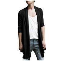 Wholesale Fall Men Shawl Collar High Low Hem Long Cardigan