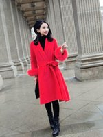 Wholesale Europe and the United States new high end system with double cashmere coat in the fox fur cuffs long fur coat