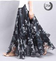 americas line - New Fashion Women Skirts Chiffon Pleated Skirt Beach Print long Skirt Europe Americas new spring and summer