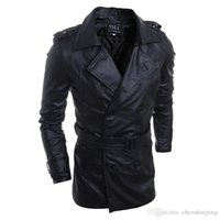 Wholesale New Fashion Motorcycle Outerwear Men PU Leather Jackets Vintage Winter Military Mens Trench Coat free shpping