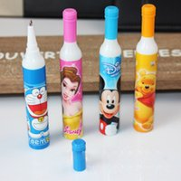 ball point ink - New Novel Ball Point Pens Cartoon Wine Bottle Bullet Type mm Blue Ink Students Gift