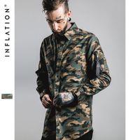 Wholesale New Man Denim Shirts Mens Hip Hop Military Style Mens Shirts Long Sleeve Hiphop Streetwear Swag Zipped Mens Shirts