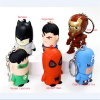 batman sounds - the avengers Captain America Superman Batman Green Lantern spider man Iron Man LED sound light keychains flashlight kids toys cartoon
