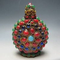 antique coral beads - Tibet Old Handwork Turquoise Coral Beads Snuff Bottle