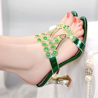 belle heel women - For BELLE women s shoes spring and summer genuine leather high thick heel rhinestone fashion slippers open toe sandals