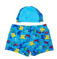 Wholesale Summer Cheap cartoon animals Kid swimming trunks baby boxer swimwear swimsuit cap hildren double elastic layer Spa Boxer boy swimwear
