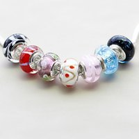 Wholesale DIY Pandora Glass Jewery Shining Gloss Beads Big Hole For Fashion Bracelet Red Blue Purple Back Clear Crystal Several Colors