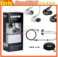 Wholesale English version black Se215 In Ear Handsfree Earphones Headset Shuring se215 in ear dynamic earphone Fast shipping PK powerbeats