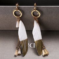 Wholesale Brand New Carlo long Feather tassels Earrings Simple Fashion Zinc alloy Two kinds of color stitching