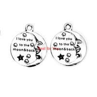 antique back plates - I Love You to the Moon and Back Charms Antique Silver Plated Pendants for Necklace Jewelry Making DIY Accessories Handmade mm