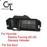 al por mayor almas inalámbricos-Para Hyundai Elantra Touring i20 i30 Genesis Veloster para Kia Soul inalámbrico auto CCD inversa cámara de visión trasera HD Asistencia de estacionamiento