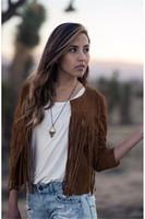 Wholesale Europe and the United States selling fringe short coat cashmere leather tassel cardigan dress