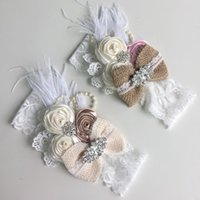 beautiful layered hair - Super Newborn Baby Headbands Beautiful Lace Feather Pearls Girls Headband Bow Layered Satin Rose Flower Party Hair Accessories for Kids SW63