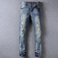 bee jeans - 2016 Men s Biker Jeans Plus Size BEE Crown Embroidery Vintage Distressed Hole Slim Jeans Ripped Mens Denim Men Famous Brand Designer