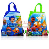 backpacks parties - Hot Sale Mixed Bubble Guppies Cartoon Drawstring Backpacks Kids School Shopping Bags cm Birthday Party Gift