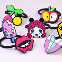Wholesale New Hair jewelry Children s cartoon character hair rings cute heart lips smiley hair rings