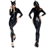 adult sexy costumes - Black Leather Bodysuit Adult Women Role Playing Sexy Catwoman Costume Cat Mask Halloween Cosplay Locomotive Suit