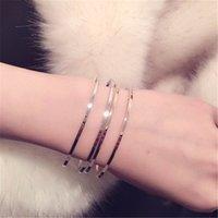 Wholesale 2016 Simple Double Layers Cuff Bracelets Women Open Design Cuff Bangles Charm Bracelets for Gifts Fashion Jewelry Cuff Bracelets