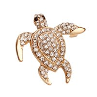 african turtles - 2016 Women Wedding Party Luxury turtle Shape Crystal Jewelry Brooch Pin Up Crystal Brooch China Gold Plated Fashion JewelryZJ