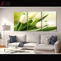 abstract art definition - Triptych pictures definition White green tulips Bright dripping large canvas wall art Home Decoration modular painting Print