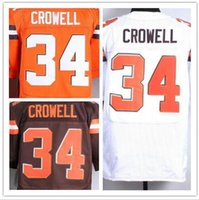 Wholesale 34 isaiah crowell jersey Cleveland white brown orange shirt size small s xl top quality