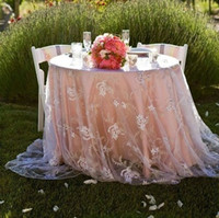 Wholesale Cheap Christmas Table Cloth - Elegant Table Covers Tulle With Lace Applique Table Cloth Hot Sale Custom Made Wedding Decorations Discount Cheap Factory Sale 2016 Latest