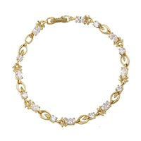 Wholesale Cubic Zirconia Tennis Bracelet Wholesale - Mexican Style 14K Gold Plated Tennis Bracelet For Lady Quality Zirconia Hand Chain Xuping Brand Fine Copper Jewelry Bracelet for Gift
